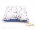 Poduszka kwadraciki z niebieskim Minky