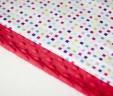 Poduszka kwadraciki z czerwonym Minky